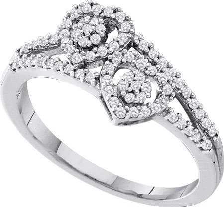0.25ctw Diamond Heart Ring 10K White Gold
