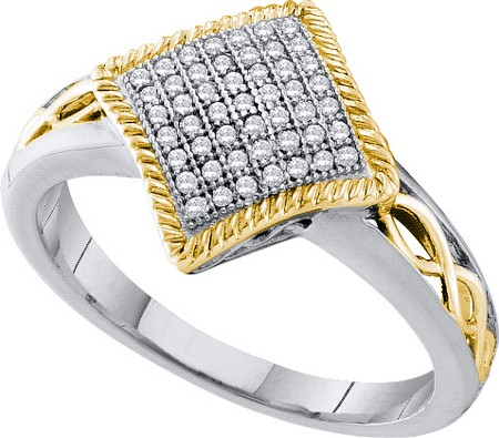0.15ctw Diamond Micro-Pave Celtic Ring 10K White & Yellow Gold