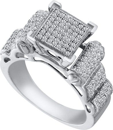 0.50ctw Diamond Micro-Pave Ring 10K White Gold w/ 163 Diamonds