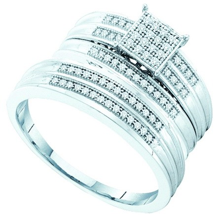 0.25ctw Diamond Micro-Pave Trio-Set 925 Sterling Silver