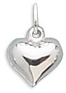 "12mm (7/16"") Puffed Heart Charm 925 Sterling Silver"