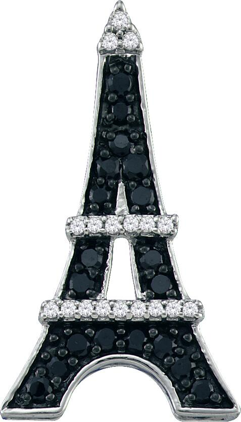 0.34ctw Black Diamond Eiffel Tower Pendant 10K White Gold 37 Diamonds