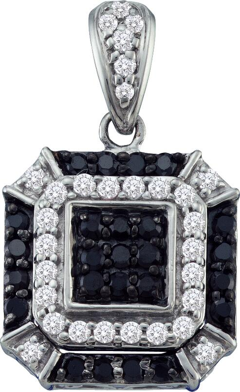 0.48ctw Black Diamond Fashion Pendant 10K White Gold 55 Diamonds