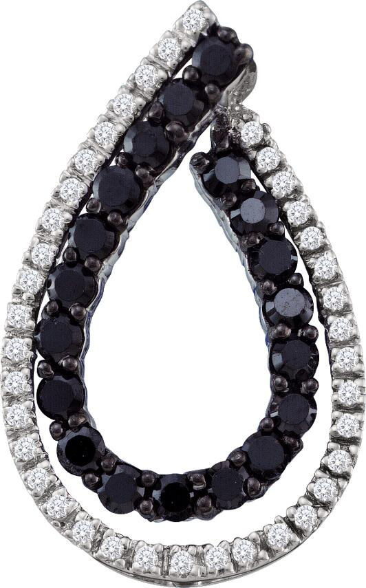 0.49ctw Black Diamond Fashion Pendant 10K White Gold