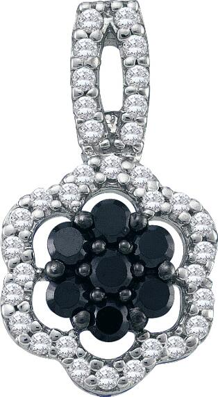 0.33ctw Black Diamond Flower Pendant 10K White Gold