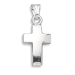 Small Hollow Polished Cross Pendant 925 Sterling Silver - DISCONTINUED