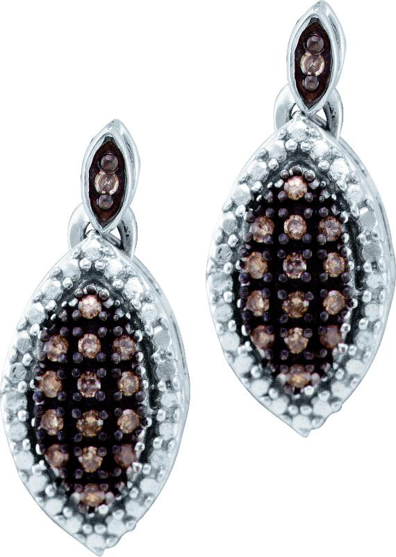 0.30ctw Brown Diamond Fashion Earrings 10K White Gold