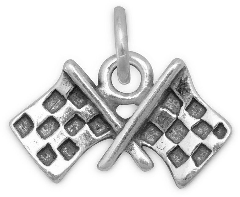 Checkered Flags Charm 925 Sterling Silver