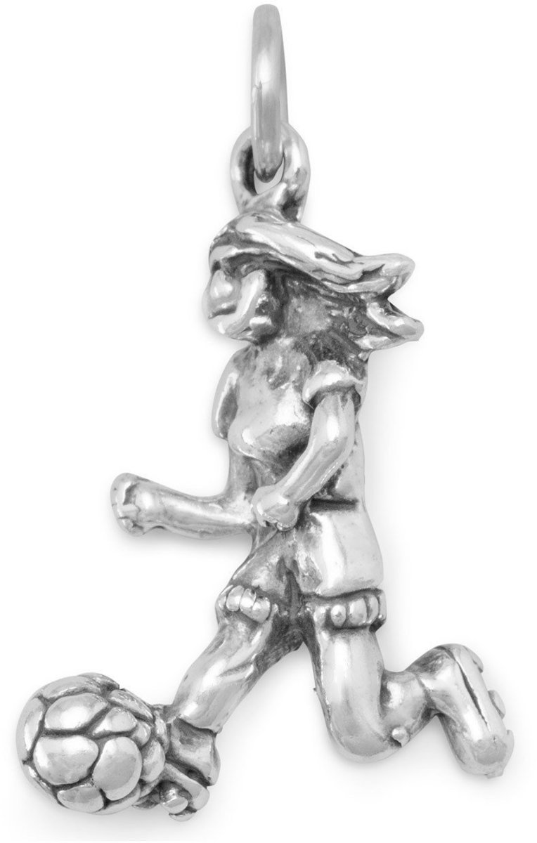 Girl Soccer Player Charm 925 Sterling Silver
