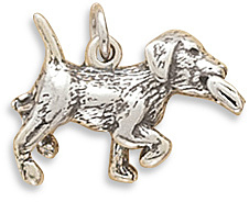 Puppy with Paper Charm 925 Sterling Silver - DISCONTINUED