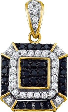 0.48ctw Black Diamond Fashion Pendant 10K Yellow Gold 55 Diamonds