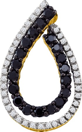 0.49ctw Black Diamond Fashion Pendant 10K Yellow Gold