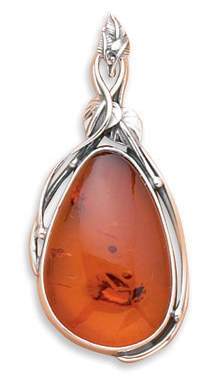 Extra Large Baltic Amber Pendant 925 Sterling Silver - DISCONTINUED