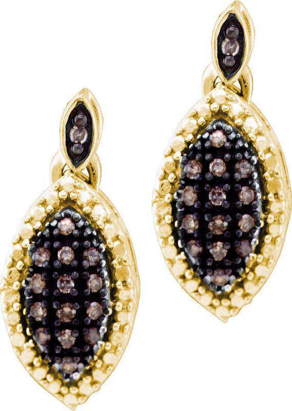 0.30ctw Brown Diamond Fashion Earrings 10K Yellow Gold
