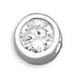 "8mm (1/3"") Round Bezel CZ Slide 925 Sterling Silver - DISCONTINUED"