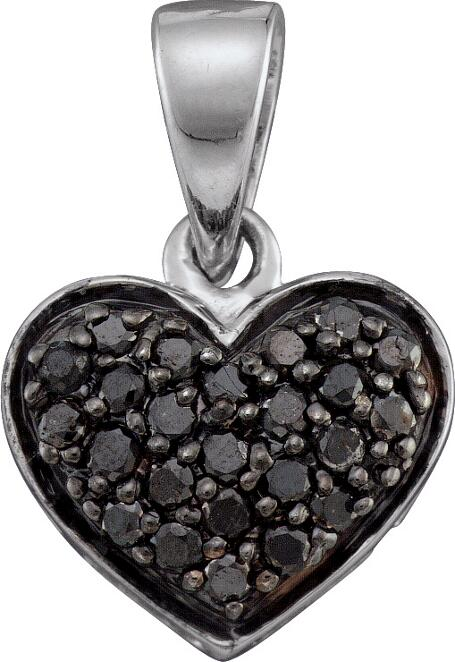 0.24ctw Black Diamond Heart Pendant 10K White Gold