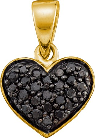 0.24ctw Black Diamond Heart Pendant 10K Yellow Gold