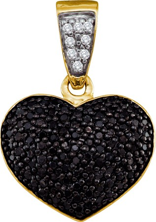 0.55ctw Black Diamond Heart Pendant 10K Yellow Gold
