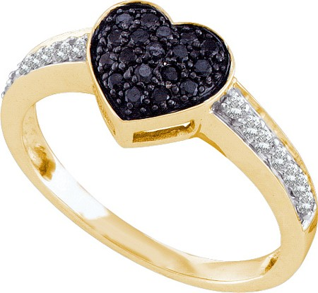 0.34ctw Black Diamond Heart Ring 10K Yellow Gold