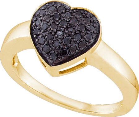 0.29ctw Black Diamond Heart Ring 10K Yellow Gold