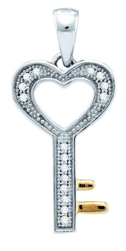 0.05ctw Diamond Key Pendant 925 Sterling Silver