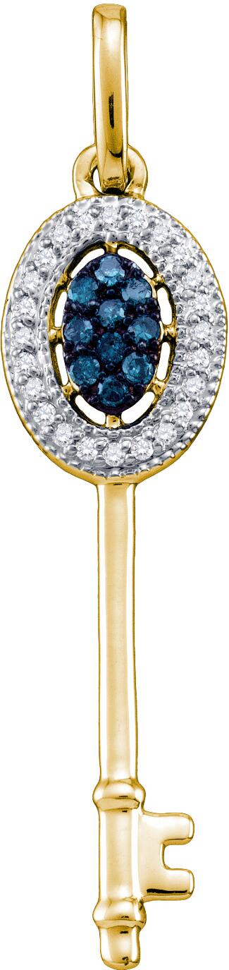 0.10ctw Blue Diamond Key Pendant 10K Yellow Gold 34 Diamonds