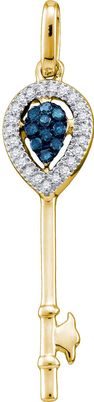 0.10ctw Blue Diamond Key Pendant 10K Yellow Gold 33 Diamonds