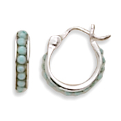 Turquoise Beads Hoop Earrings with Click 925 Sterling Silver - DISCONTINUED