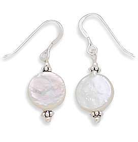 "12mm (7/16"") Cultured Freshwater Coin Pearl with Bali Bead Earrings 925 Sterling Silver"