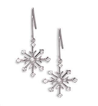 Rhodium Plated 8 Point Snowflake Earrings with 9 CZs on French Wire 925 Sterling Silver - DISCONTINUED