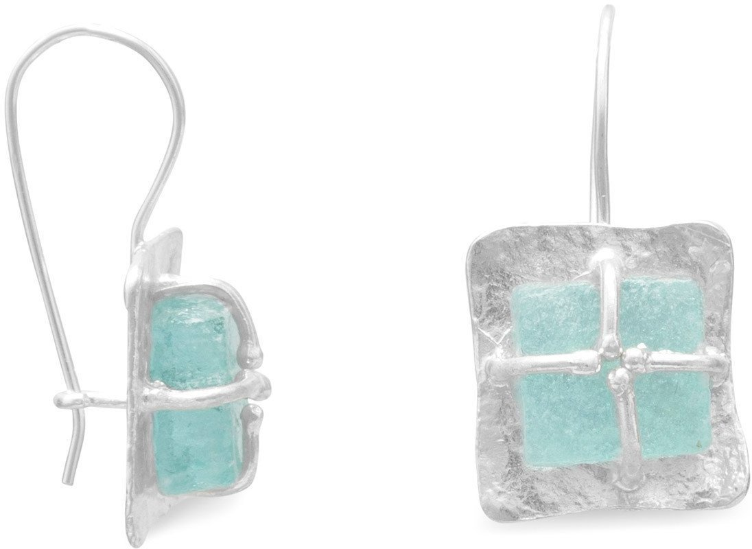 Textured Square with Ancient Roman Glass Earrings 925 Sterling Silver