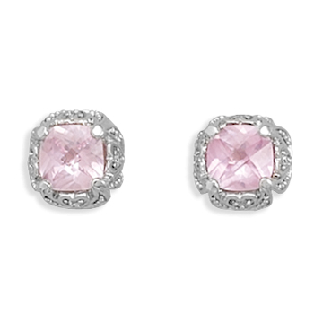 Rhodium Plated Synthetic Pink Sapphire and Pave CZ Earrings 925 Sterling Silver - DISCONTINUED