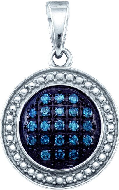 0.20ctw Blue Diamond Circle Pendant 925 Sterling Silver
