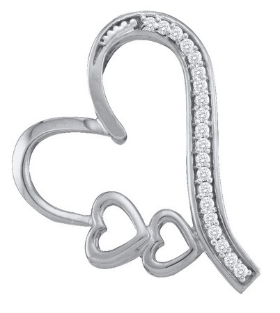 0.07ctw Diamond Heart Pendant 10K White Gold