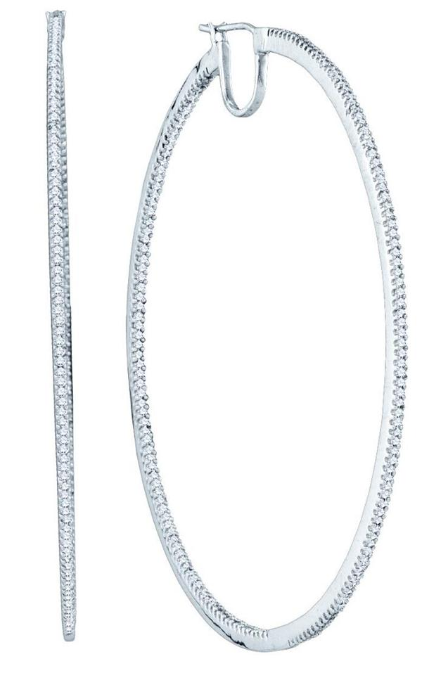 0.75ctw Diamond Hoop Earrings 10K White Gold