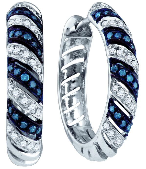 0.50ctw Blue Diamond Fashion Hoop Earrings 10K White Gold