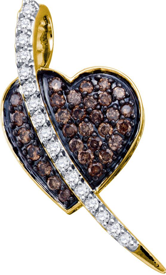 0.53ctw Brown Diamond Heart Pendant 10K Yellow Gold