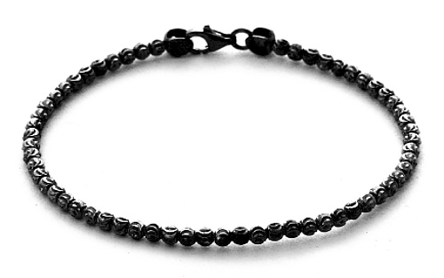 Officina Bernardi - Bombe Bangle Collection - Single Bead Black - Italian 925 Sterling Silver