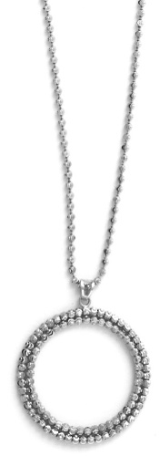 "Officina Bernardi - Stella Collection - 18"" + 2"" Cutout Disc Necklace (4 Color Choice) - Italian 925 Sterling Silver"
