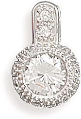 "Rhodium Plated 6mm (1/4"") Round CZ/Pave Edge Slide 925 Sterling Silver"