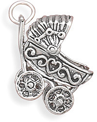 Movable Baby Carriage Charm 925 Sterling Silver