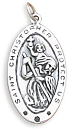 Oval Saint Christopher Charm 925 Sterling Silver
