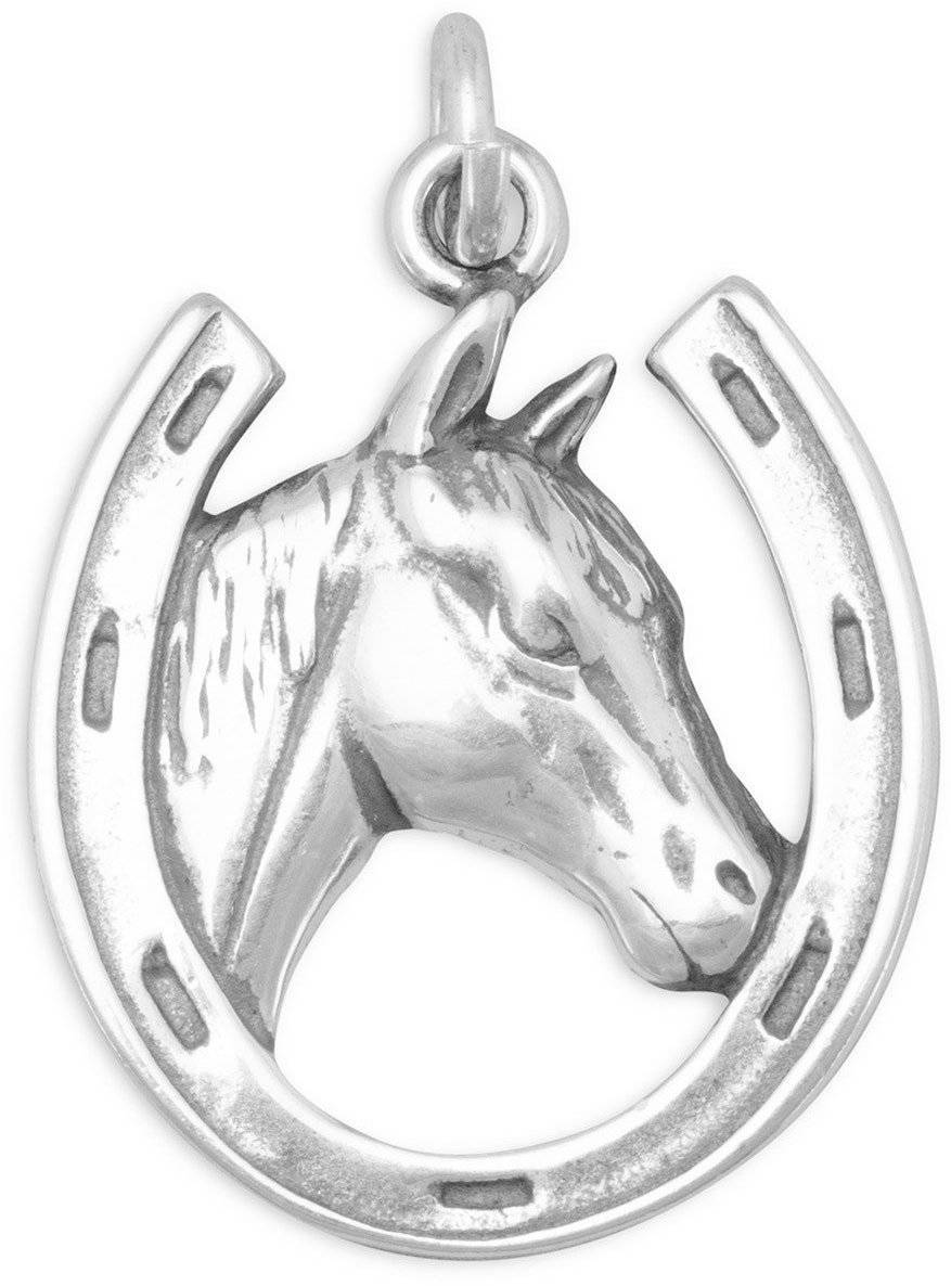 Horse in Horseshoe Charm 925 Sterling Silver - LIMITED STOCK