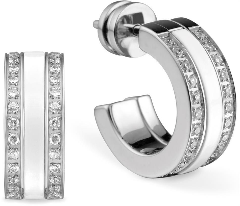 Bering - Arctic Symphony - Ladies Hoop Earrings Stainless Steel w/White Ceramic & Top Stones