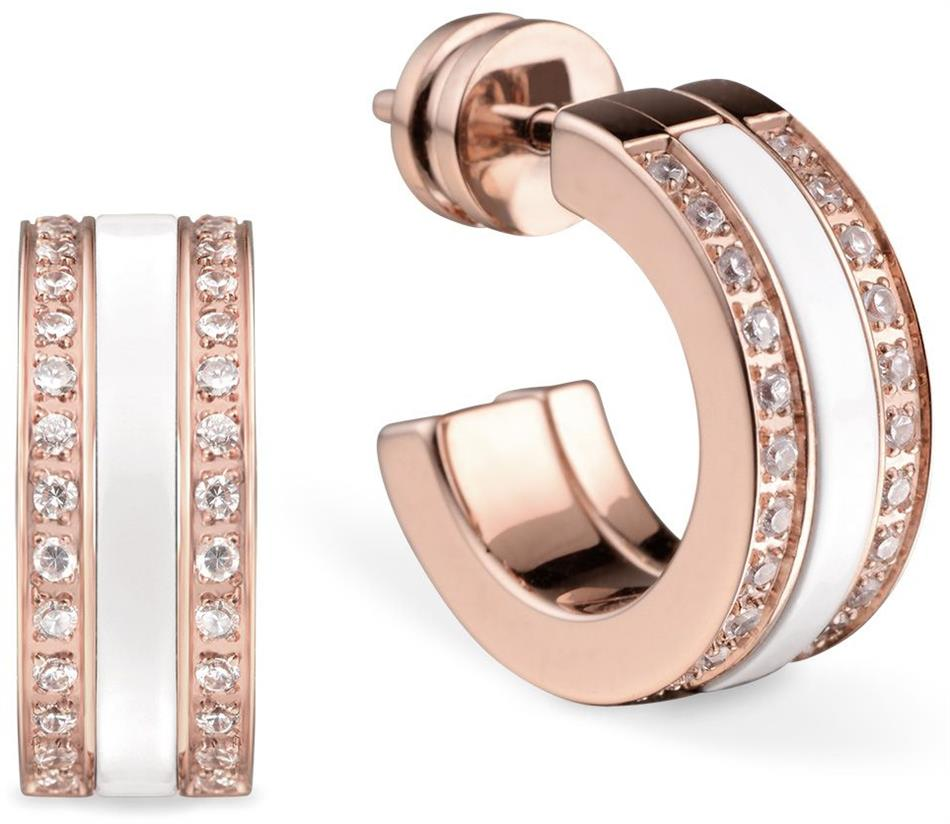 Bering - Arctic Symphony - Ladies Hoop Earrings Stainless Steel Rose Gold Plated w/White Ceramic & Top Stones
