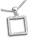 "Rhodium Plated 1"" Open Square CZ Pendant 925 Sterling Silver"