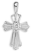 12 Baguette/1 Round CZ Cross Pendant 925 Sterling Silver