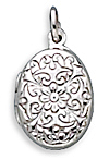 Oval Polished Floral Design Locket 925 Sterling Silver