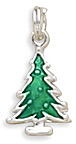 Green Enamel Pine Tree Charm 925 Sterling Silver