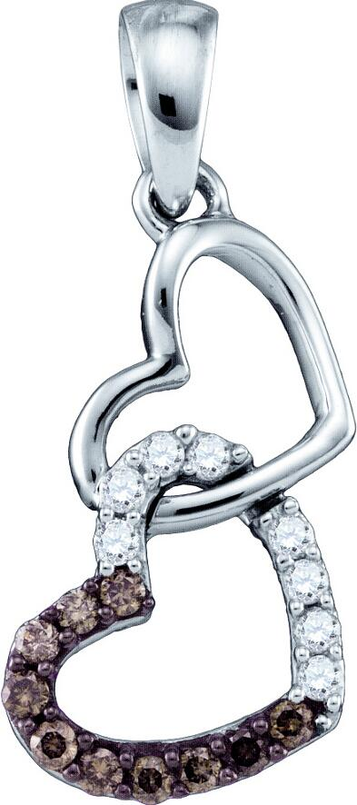 0.16ctw Brown Diamond Heart Pendant 10K White Gold
